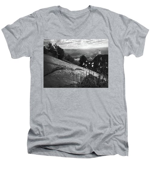 Flowers At Table Rock Overlook In Black And White Three Men's V-Neck T-Shirt by Kelly Hazel