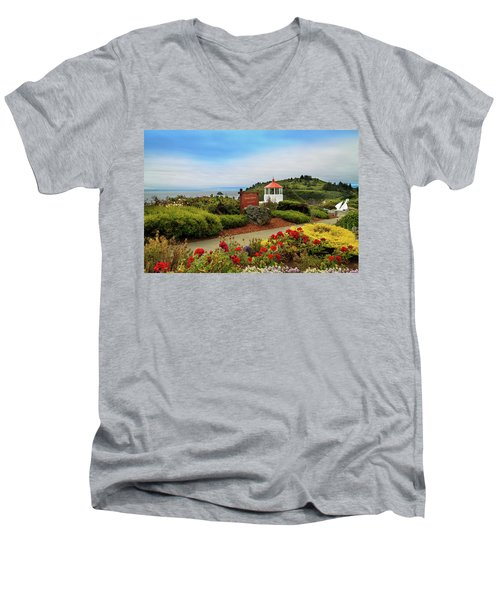 Men's V-Neck T-Shirt featuring the photograph Flowers At The Trinidad Lighthouse by James Eddy