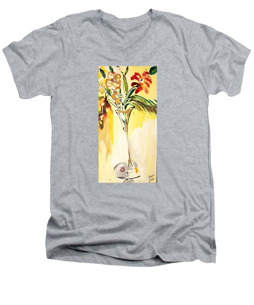 Flowers Flowing In Yellow Men's V-Neck T-Shirt