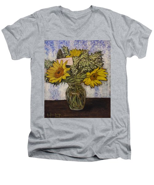Flowers For Janice Men's V-Neck T-Shirt by Ron Richard Baviello