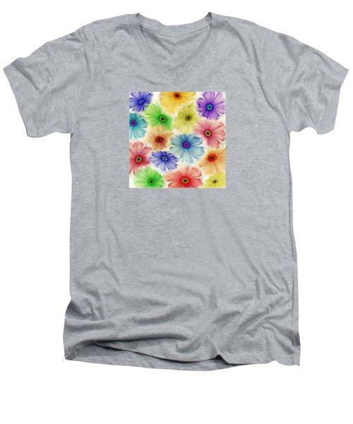 Men's V-Neck T-Shirt featuring the digital art Flowers For Eternity by Klara Acel