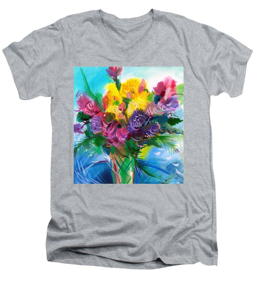 Men's V-Neck T-Shirt featuring the painting Flowers For My Jesus by Karen Showell