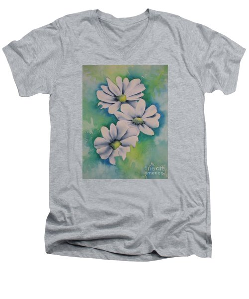 Men's V-Neck T-Shirt featuring the painting Flowers For You by Chrisann Ellis