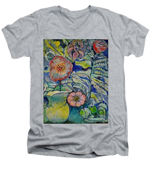 Men's V-Neck T-Shirt featuring the painting Flowers Gone Wild by Deborah Nell