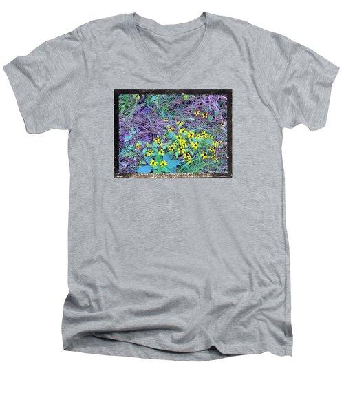 Flowers Gone Wild Men's V-Neck T-Shirt by Shirley Moravec
