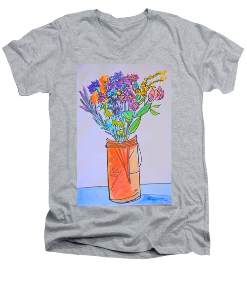 Flowers In An Orange Mason Jar Men's V-Neck T-Shirt