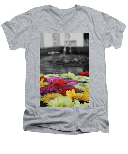 Flowers In Fountain Men's V-Neck T-Shirt
