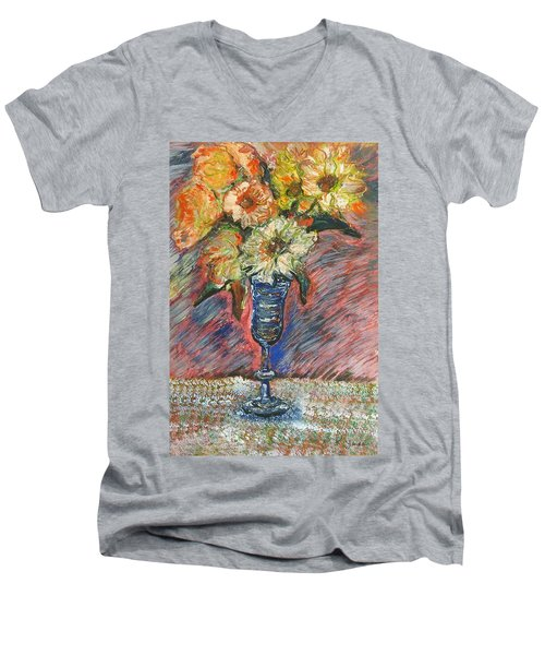 Flowers In Wine Glass Men's V-Neck T-Shirt