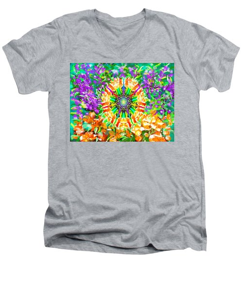 Flowers Mandala Men's V-Neck T-Shirt