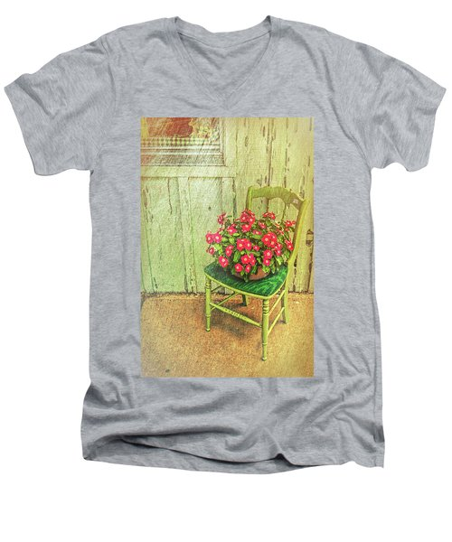 Men's V-Neck T-Shirt featuring the photograph Flowers On Green Chair by Lewis Mann