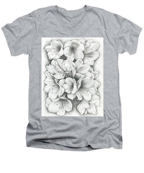 Clivia Flowers Pencil Men's V-Neck T-Shirt