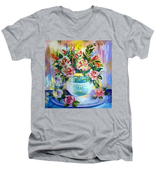 Men's V-Neck T-Shirt featuring the painting Flowers Still Life  by Roberto Gagliardi