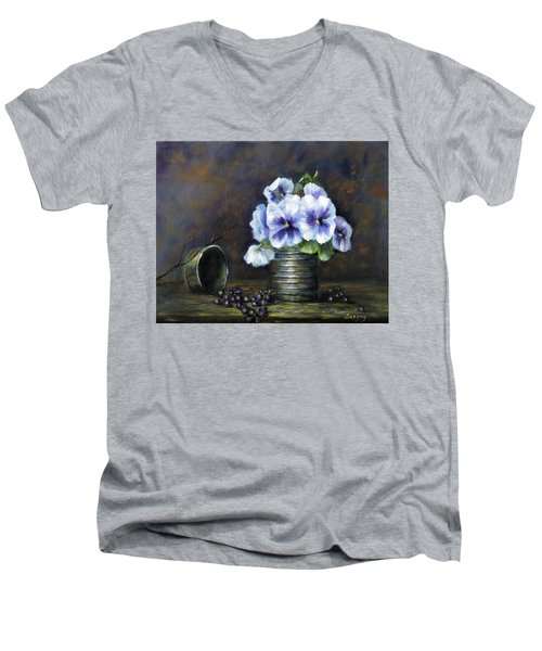 Flowers,pansies Still Life Men's V-Neck T-Shirt