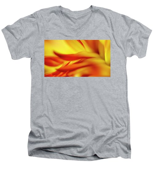Flowing Floral Fire Men's V-Neck T-Shirt by Tony Locke