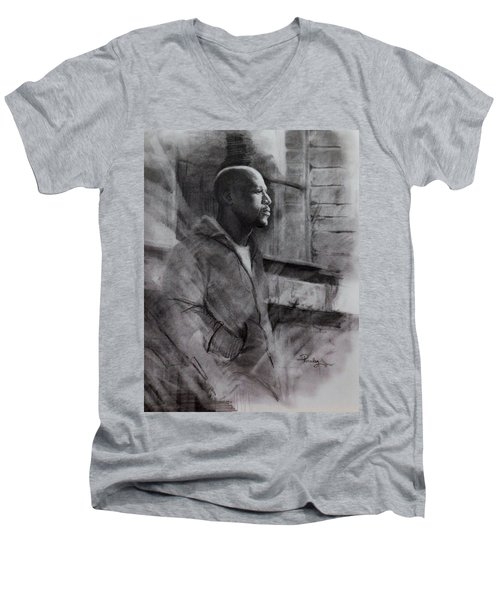 Men's V-Neck T-Shirt featuring the drawing Reflections Of Floyd Mayweather by Noe Peralez