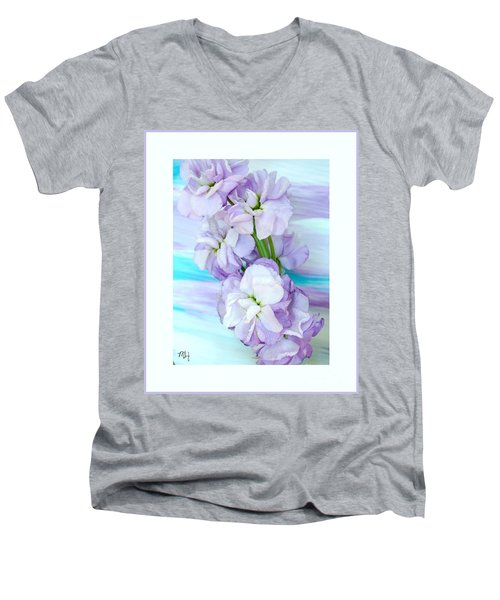 Men's V-Neck T-Shirt featuring the mixed media Fluffy Flowers by Marsha Heiken