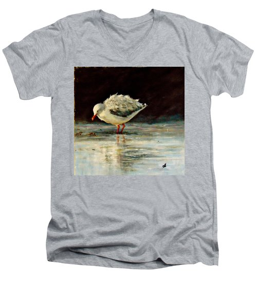 Men's V-Neck T-Shirt featuring the painting Fluffy Jonathan.. by Cristina Mihailescu
