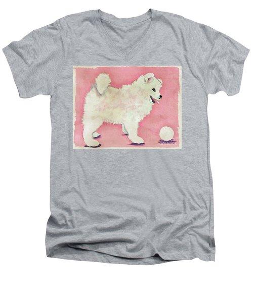 Fluffy Pup Men's V-Neck T-Shirt by Phyllis Kaltenbach
