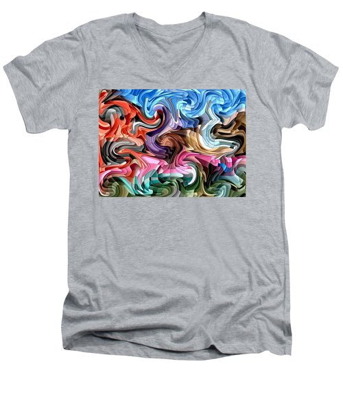 Men's V-Neck T-Shirt featuring the digital art Fluidity by Shelli Fitzpatrick