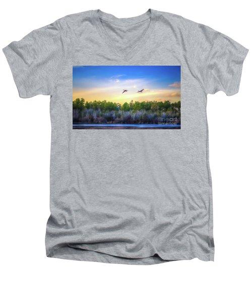 Fly Away Men's V-Neck T-Shirt by Maddalena McDonald
