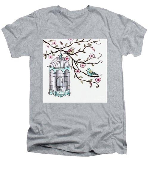 Fly Free Men's V-Neck T-Shirt by Elizabeth Robinette Tyndall