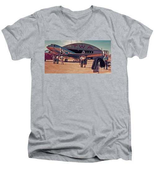 Fly Twa The Lindberg Line By Henry Bosis Men's V-Neck T-Shirt