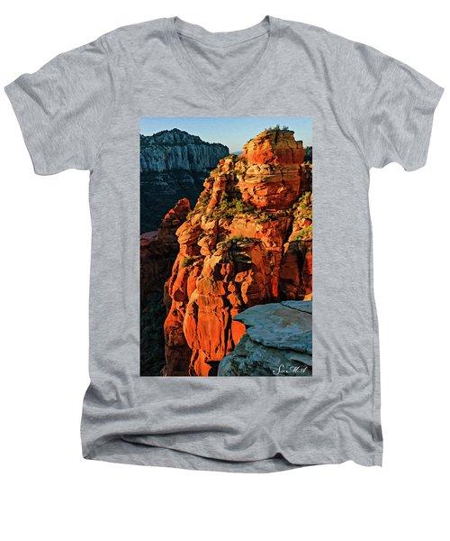 Flying Buttress 06-034 Men's V-Neck T-Shirt by Scott McAllister