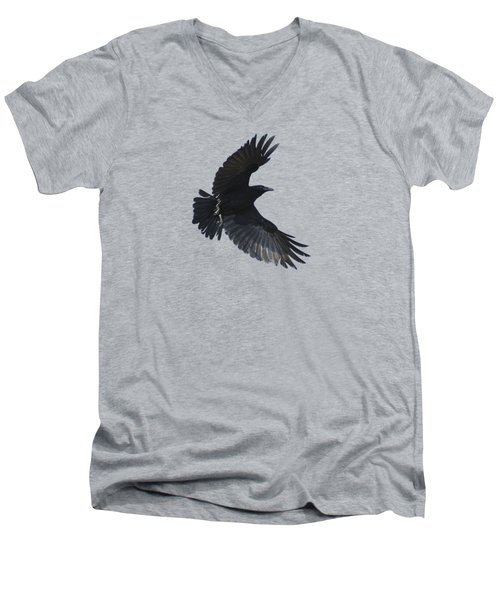 Men's V-Neck T-Shirt featuring the photograph Flying Crow by Bradford Martin