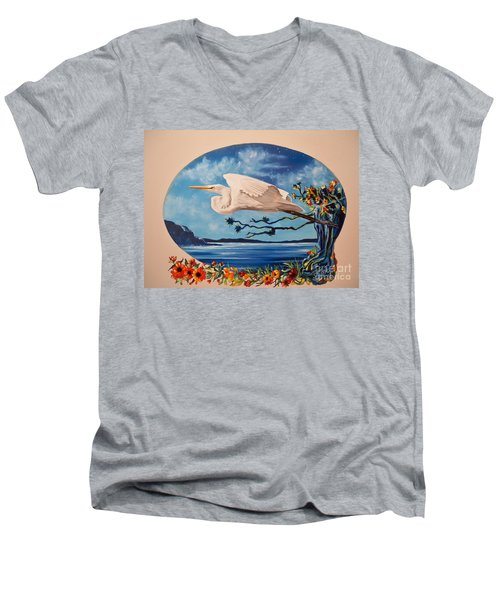Men's V-Neck T-Shirt featuring the painting Flying Egret by Sigrid Tune