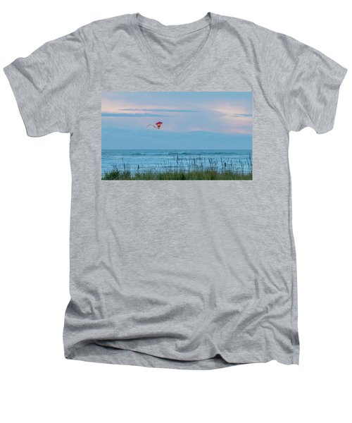 Flying High Over The Pacific Men's V-Neck T-Shirt