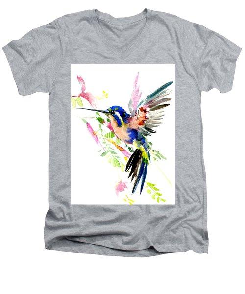 Flying Hummingbird Ltramarine Blue Peach Colors Men's V-Neck T-Shirt by Suren Nersisyan