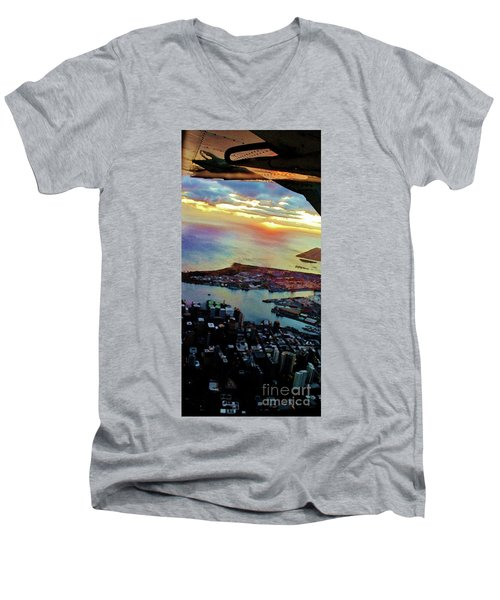 Flying Into Honolulu II Men's V-Neck T-Shirt by Craig Wood