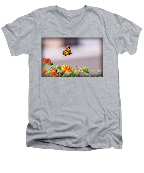Flying Monarch Butterfly Men's V-Neck T-Shirt by Robert Bales
