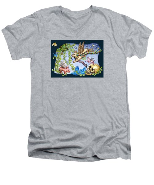 Flying Pig Party 2 Men's V-Neck T-Shirt by Retta Stephenson