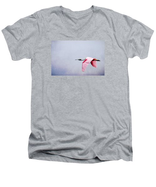 Flying Pretty - Roseate Spoonbill Men's V-Neck T-Shirt