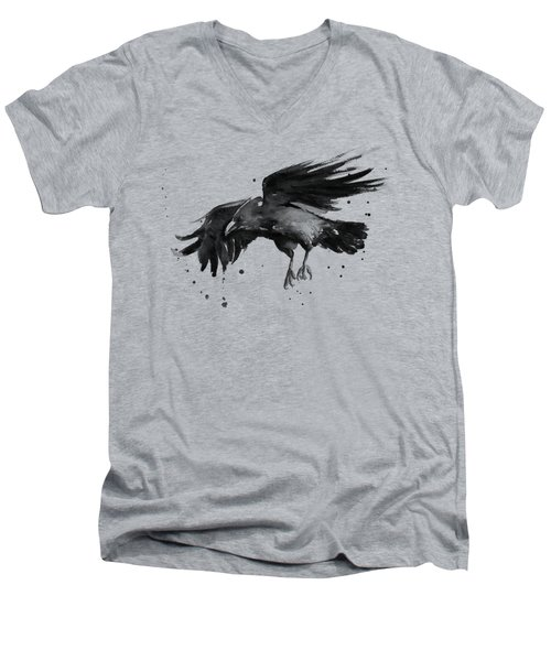 Flying Raven Watercolor Men's V-Neck T-Shirt by Olga Shvartsur