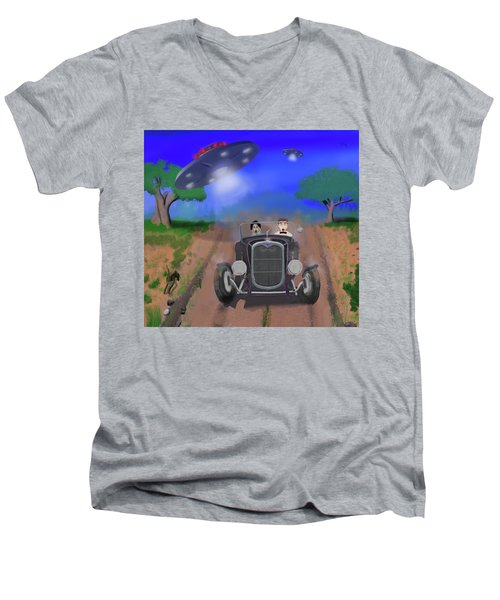 Flying Saucers Attack Teenage Hot Rodders Men's V-Neck T-Shirt