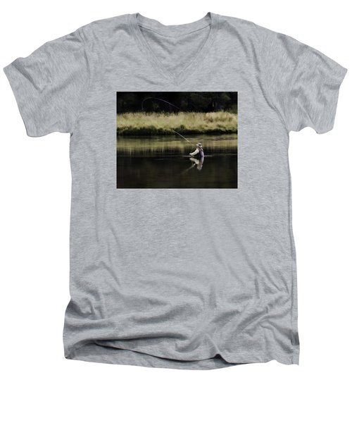 Flying Solo Men's V-Neck T-Shirt by Elizabeth Eldridge