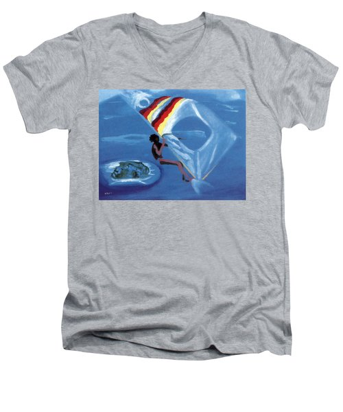 Flying Windsurfer Men's V-Neck T-Shirt