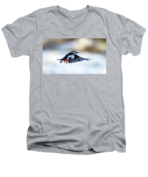 Men's V-Neck T-Shirt featuring the photograph Flying Woodpecker by Torbjorn Swenelius