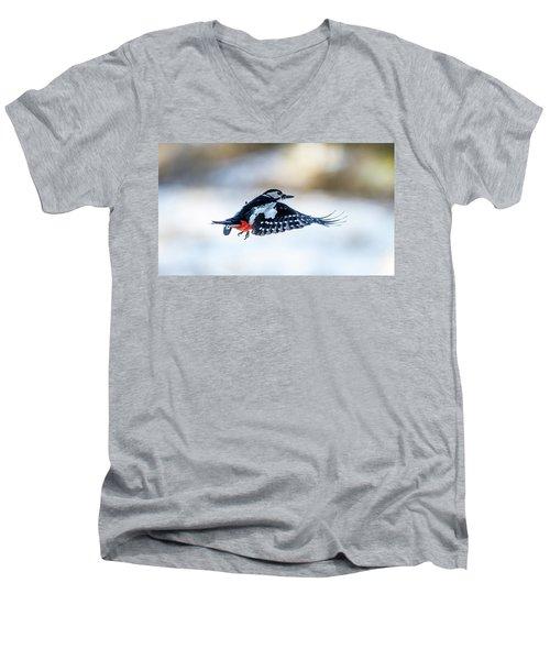 Flying Woodpecker Men's V-Neck T-Shirt by Torbjorn Swenelius