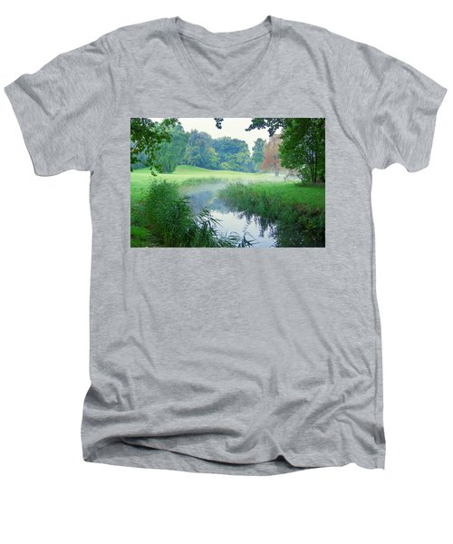 Fog Along A Creek In Autumn Men's V-Neck T-Shirt