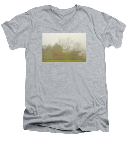 Men's V-Neck T-Shirt featuring the photograph Fog In Autumn by Wanda Krack