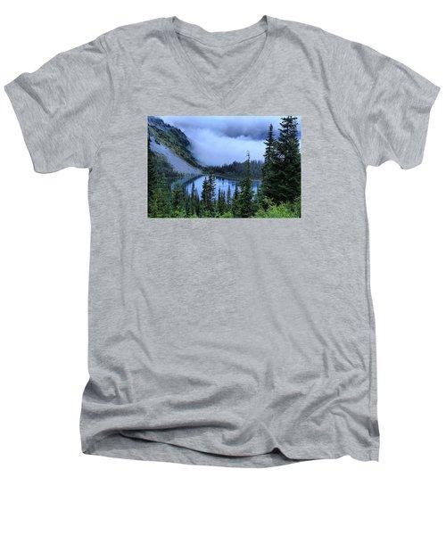 Fog Over Louise Lake Men's V-Neck T-Shirt by Lynn Hopwood