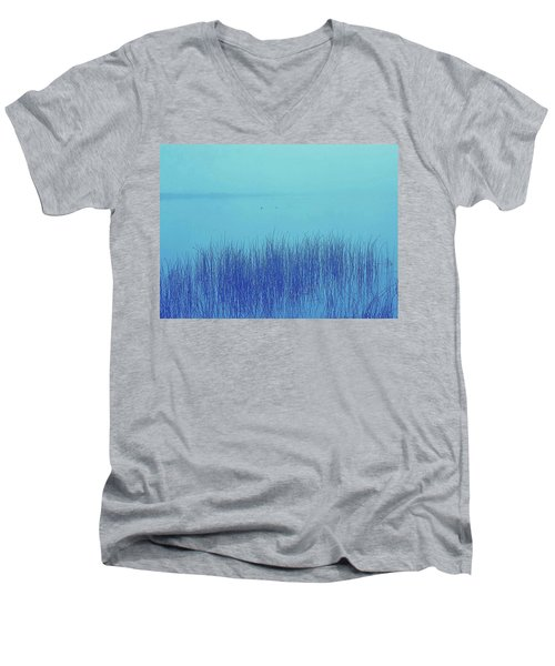 Men's V-Neck T-Shirt featuring the photograph Fog Reeds by Laurie Stewart