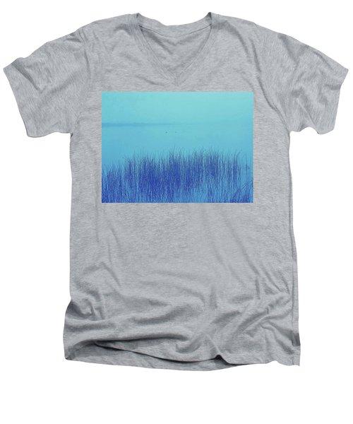 Fog Reeds Men's V-Neck T-Shirt by Laurie Stewart