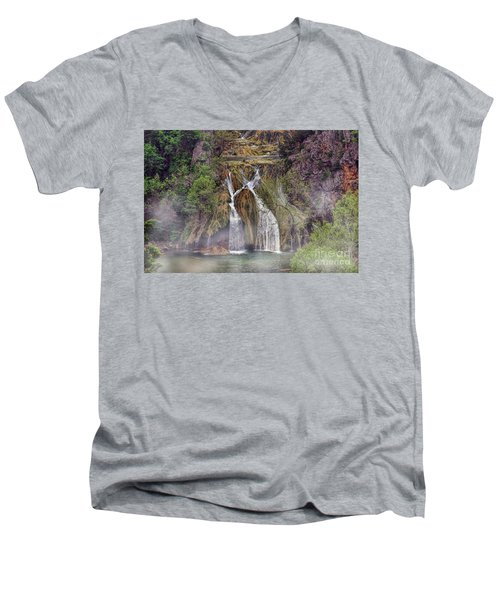 Fog Rolling In Men's V-Neck T-Shirt by Joan Bertucci