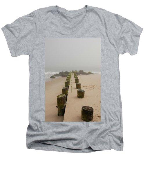 Fog Sits On Bay Head Beach - Jersey Shore Men's V-Neck T-Shirt