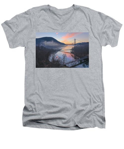Foggy Dawn At Three Bridges Men's V-Neck T-Shirt by Angelo Marcialis