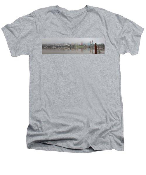Foggy Day Along Portland Waterfront Panorama Men's V-Neck T-Shirt